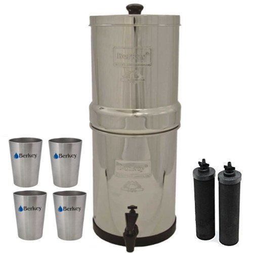 Crown Berkey Water Filter System with 2 Black Purifier Filters (6 Gallons) Bundled with 1 set of 4 Boroux 12 oz Stainless Steel Cups.