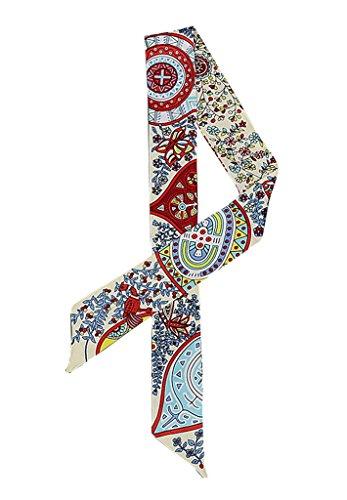 Xiang Ru Damen Blume Druck Schmaler Schal Blusen Krawatte Haarband-Haarschmuck-Handtasche Deko 08 Weiss/Beige