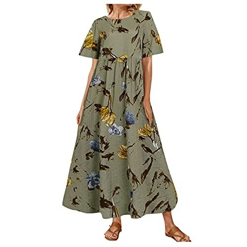 Vestido de verano para mujer de flores, de lino, de manga corta, cuello redondo, para la playa, elegante, camisola, para el tiempo libre, maxivestido, sin mangas, con falda swing 1 - verde. S