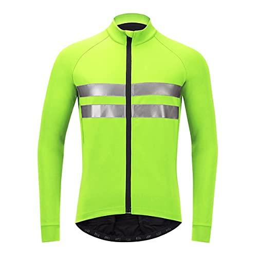 Chaleco de seguridad reflectante de alta visibilid Chaqueta de ciclismo de primavera de otoño, chaqueta de bicicleta de lana termal de manga larga para hombres, chaqueta rápida y seca Chalecos de segu