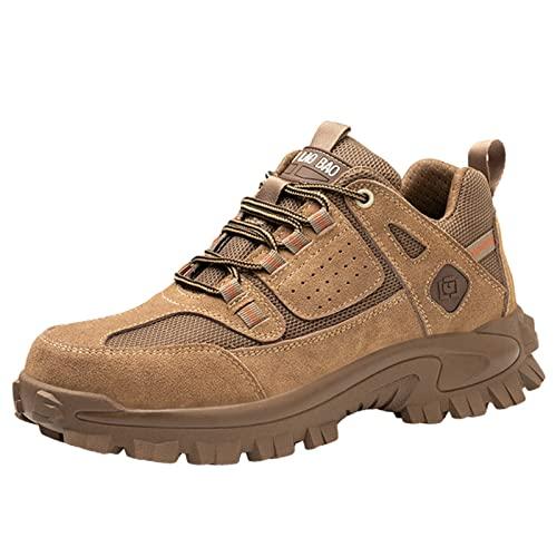 Zapatos De Trabajo para Hombre Botas De Seguridad con Puntera De Acero Transpirable Amortiguador Portátil Zapatillas De Deporte Ligeras De La Industria,Marrón,43 EU