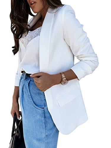 Minetom Femmes Chic Vestes de Tailleur Blazer Bureau Business Jacket Manche Longue Manteau Casual Slim Élégant Petite Costume Automne Printemps Blanc XL
