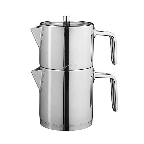 KARACA Jumbo Metalix Full Metal Teekannen, Edelstahl, Turkischer Teekocher, Wasserkocher, Induktion Geeignet