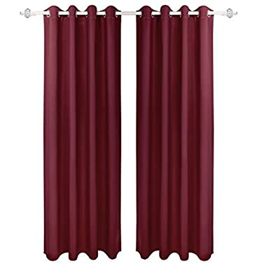 HOMEIDEAS Blackout Curtains Room Darkening Thermal Insulated Grommet Drapes for Living Room (52 x 95 Inches, Burgundy, 2 Panels)