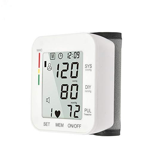 HHY Blutdruckmessgerät, Digital Handgelenk-Blutdruckmessgerät Vollautomatisch Blutdruckmessgerät und Pulsmessung, LCD Display und Speicherfunktion, 2x90 Dual-User-Modus Weiß