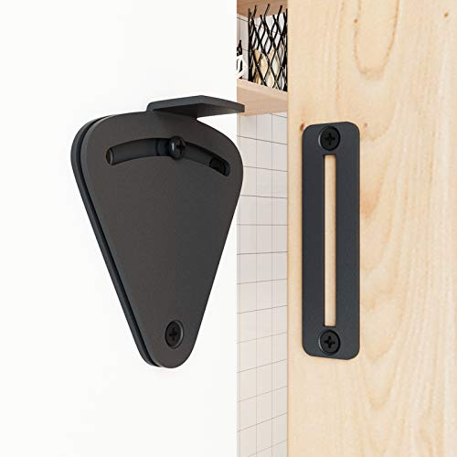 Product Image 6: SMARTSTANDARD Barn Door Large Size Latch Lock Black Privacy Latch Lock for Sliding Door Work for Pocket Doors Garage and Shed Wood Glass Gates