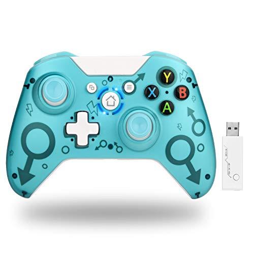 TechKen Wireless Xbox Controller,Drahtloser Controller für Xbox One,2,4 GHz Game Controller Gamepad Ohne Kopfhörerloch,kompatibel mit Xbox One S/X,PS3 und PC (Blau)