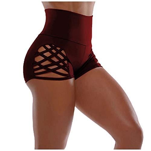 Taurner Verano Vendaje Pantalones de Chándal de Alta Cintura Mujer Pantalones Cortos de Yoga Sexy Color Sólido Leggings Transpirables Mallas