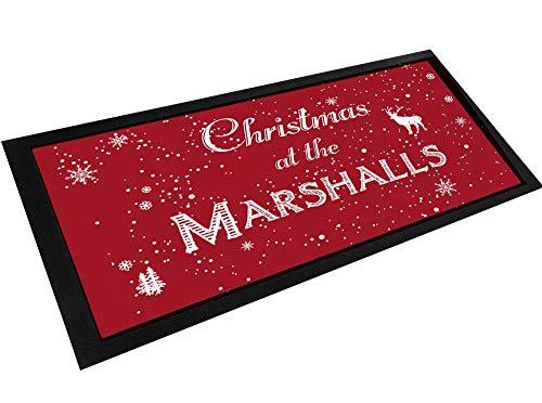 Tapis de comptoir personnalisé avec nom de la famille de Noël