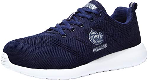 LARNMERN Scarpe Antinfortunistiche da Uomo, Punta in Acciaio Sneakers da Lavoro Leggere ed Eleganti (41 EU, Blu)