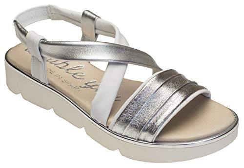 Double You by Dessy Damen Sandalen Cabra Plata-Blanco Silber-Weiss