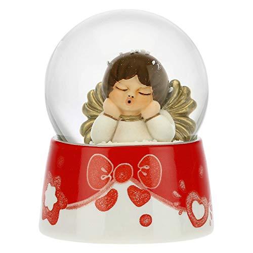 THUN - Palla di Vetro con Neve e Angelo - Accessori per la Casa da Collezionare - Formato Piccolo - Ceramica,Vetro - Ø 4,5 cm