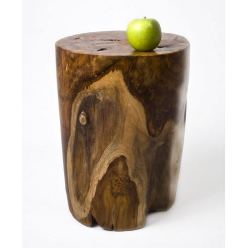 wohnfreuden Teak-Holz Hocker 40 cm lasiert rund Dekoration Beistelltisch Stamm