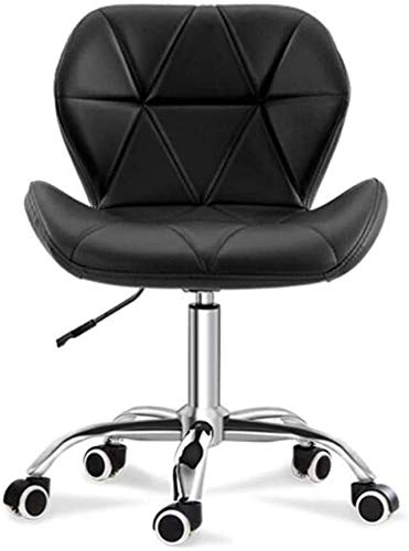 WYL Executive Recline Ergonomic Adjustable Home Chairs, Swivel PU Leather Dining Computer Office Desk Chrome Nylon Legs Chair Office Chair (Color : Black)
