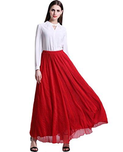 URVIP Damen's Bohemian Plissee Vintage Maxirock Elastisch Bund Tanz-Kleid Sommerrock Party Frauen Lang Chiffon Rock Strandkleid Rot Medium