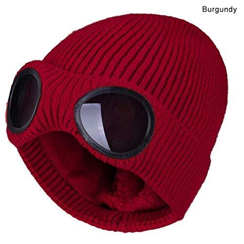 MCSZG Heißer NeueArt Mode Winterwarmestrickmützen Unisex Erwachsene Winddicht ski Kappen mit abnehmbare Brille verdicken Sport multifunktions Kappen