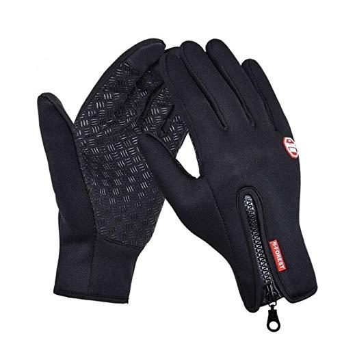 GQDP Windschutzscheibe Handschuhe rutschfest winddicht warm warm Touchscreen Handschuhe atmungsaktiv Taktik Winter schwarz Reißverschluss Männer und Frauen Handschuhe Schwarz S