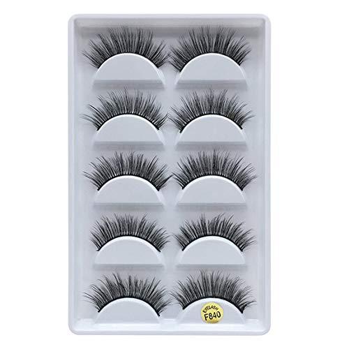 SeniorMar-UK 3D Mink Hair False Eyelashes Natural Long False Eyelash Thick Eyelashes 5 Pairs Beauty Products
