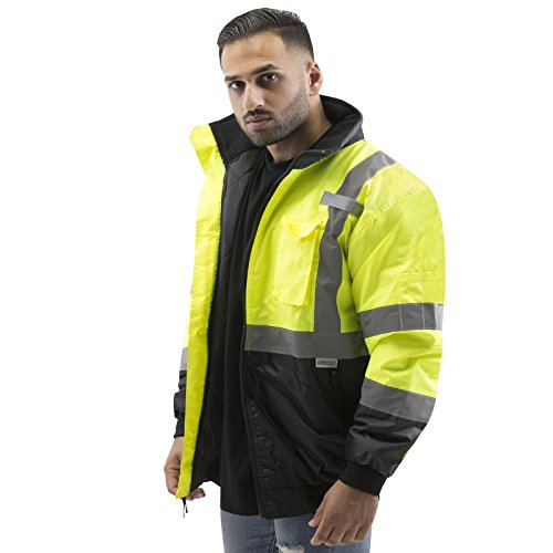 JORESTECH Safety Bomber Jacket Waterproof Reflective High Visibility with Detachable Hood Yellow/Lime ANSI Class 3 Level 2 Type R JK-01 (2XL)