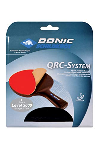 Donic-Schildkröt Tischtennis Ersatzbelag QRC Level 3000, für blitzschnellen Belagwechsel, 2,1 mm Schwamm, Energy - ITTF Belag, 752578