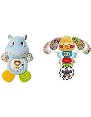 VTech- HIPO mordedor Hipopótamo de Peluche Musical y sonajero Que Ayuda a calmar y aliviar a tu Bebe con tiernas Frases