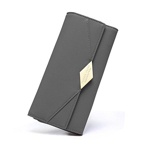 Damen Geldbörse Weich Leder viele Kartenfächer Lang Portemonnaie Clutch Geldbeutel für Frauen mit Münzfach grau