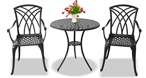 Centurion Supports OSHOWA Luxurious Garden & Patio Table & 2 Large Chairs with Armrests Cast Aluminium Bistro Set - Black