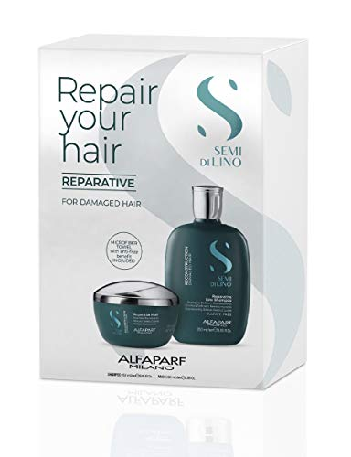 Alfaparf Milano Semi Di Lino Reconstruction Reparative Sulfate Free Shampoo and Mask for Damaged Hair - Duo Pack - Strengthens, Repairs and Protects - Includes Microfiber Hair Towel, 1 ct.