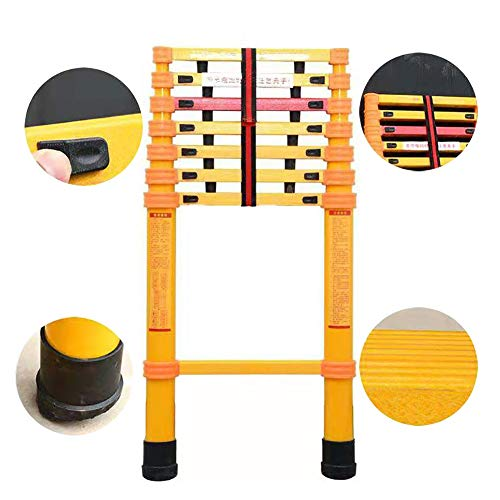Escalera Telescópica- Naranja Escalera Extensible con Pies Antideslizantes, Aislamiento de Escalera de Fibra Recta de Fibra de Vidrio FRP para Negocios de Energía/Techos (Size : 13ft/4m)