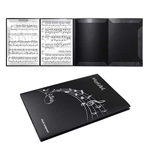4面 楽譜ファイル 書き込みできる バンドファイル 最大6枚収納 発表会 演奏会 楽譜ホルダー(ブラック)