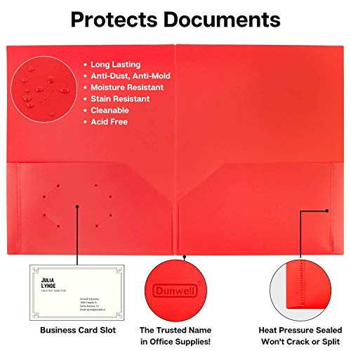 Dunwell Colored Pocket Folders, 2-Pocket File Folders (12 Pack, 6 Assorted Colors + 6 Red) School Folders, Plastic Folders with Labels, Two Pocket Folders, Letter Size File Folders with Pockets Photo #6