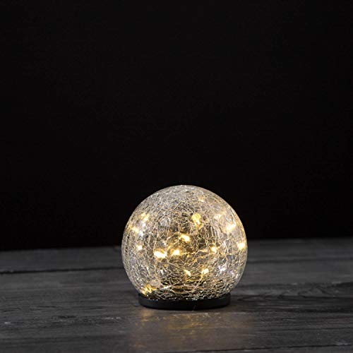 Solar Gazing Ball Light - 4 Inch Small Globe, Waterproof for Outdoor Use, Crackle Glass, Warm White LED Fairy Lights, Dusk to Dawn Timer, Garden/Pathway Decoration - Battery Included