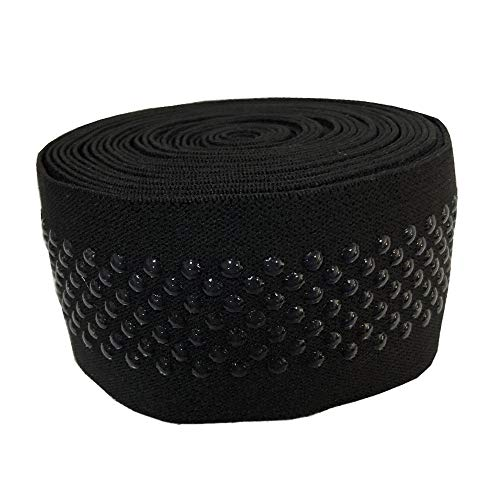 2 Inch Width Dot Black Silicone Elastic Gripper Bands for DIY Corset Knee Wrist Protectors Craft Yoga Sewing &Garment Accessory(2'' Width,5 Yards)