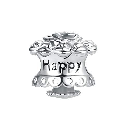 MiniJewelry Celebration Cake Charm for Women Girls Bracelets Gift Present for Daughter Granddaughter Engraved Happy Birthday