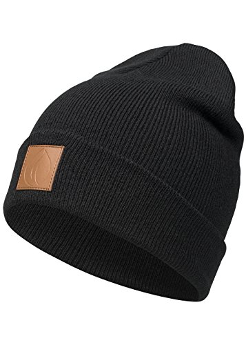 Occulto Leatherpatch Winter Mütze Beanie (Black)