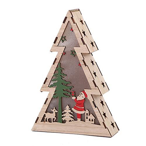 Yuanshenortey - Decoración navideña de madera para árbol con luces LED, decoración de escritorio