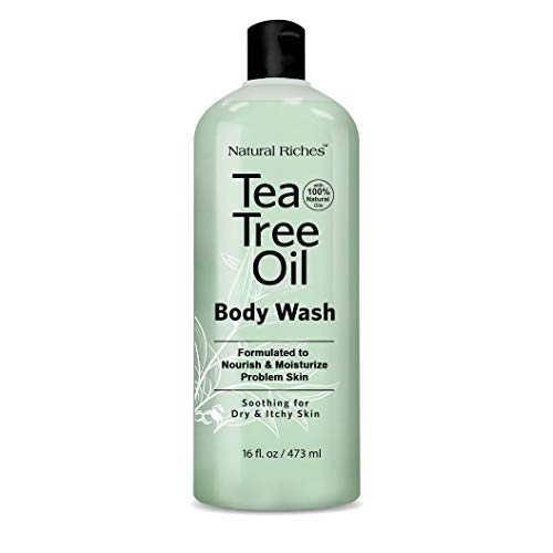 Antifungal TeaTree Oil Body Wash, Peppermint & Eucalyptus Oil Antibacterial Soap by Natural Riches -12 oz Helps Athletes Foot, Eczema, Ringworm, Toenail Fungus, Jock itch, Body Itch (1 Pack)