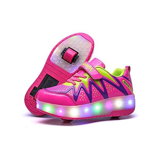 Zapatos con ruedas para niños, niñas, niños, patines con ruedas, con luces LED, zapatos con Ruedas para niños, Zapatos de skate de doble Rueda, 7 Ruedas que Cambian de color, Zapatillas de Gimnasia