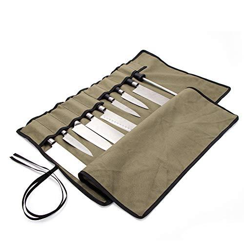 QEES - Rotolo portacoltelli da Chef con 10 Scomparti, in Tela Impermeabile, Multifunzione, Colore: Verde Militare