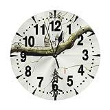 掛け時計 猫 春分の日 大文字 連続秒針 静音 壁掛け時計 置き時計 直径25cm