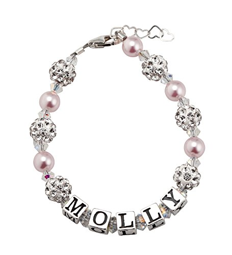 Custom Name Personalized Sparkly Beads Baby Bracelet with Pink and White Swarovski Crystals (B107_PW_M)