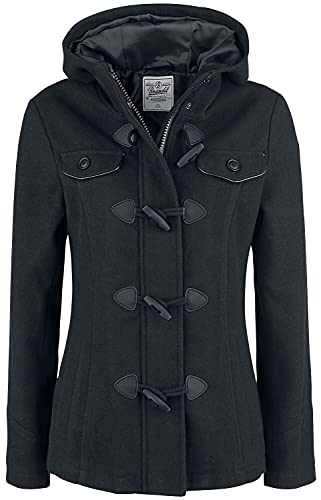 Brandit Manteau Duffle-Coat Femme Femme Parka Noir XL, 50% Laine, 50% Polyester,
