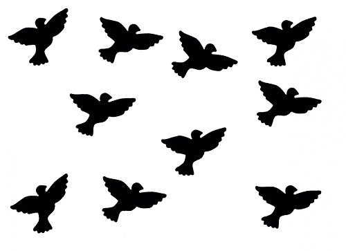 Miniblings 10x Transfert Tissu 26mm Aspect Velours Patch d'oiseau Colombe I Patches à Repasser Repassage, Color:Schwarz