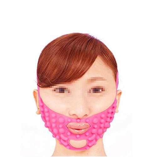 WYNZYSLBD Masque Facial De Massage De Silicone, Petit Visage Étroitement En Forme De V Étroitement À Décorer Le Modèle Face-lift Bandage Rose