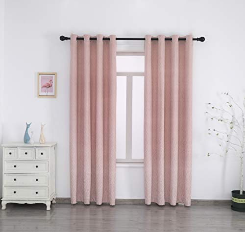 SMILETIME Pink Velvet Curtains with Geometric Pattern, Grommet Thermal Insulated Super Soft Privacy Noise Reducing Blackout Velvet Curtains for Living Room, 2 Panels, Each 52 x 84 inches Long