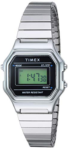Timex Women's TW2T48200 Classic Digital Mini Silver-Tone/Black Stainless Steel Expansion Band Watch