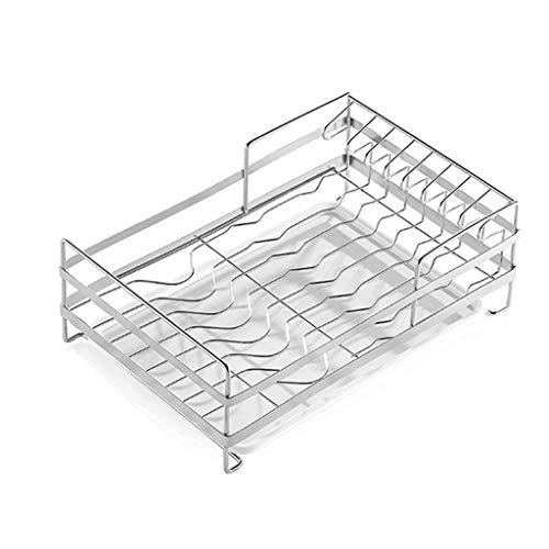 Égouttoir à vaisselle Acier inoxydable 304 égouttoir à vaisselle en acier inoxydable, étagère de rangement, grille de séchage, grille de cuisine avec plateau (39 × 25 × 13,5 cm, blanc)