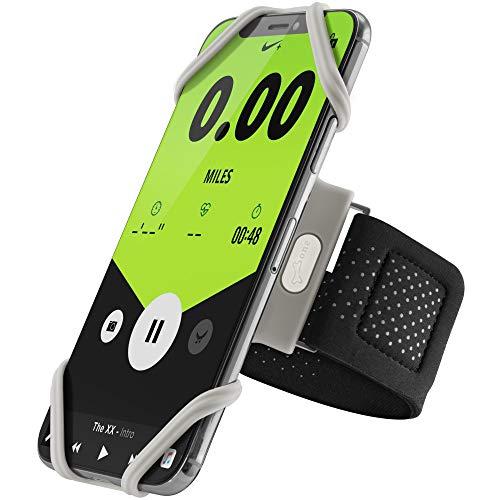 Bone Collection Sportarmband für Handy, Federleichtes Handy Armband zum Joggen Handytasche Sport, Handyhalter Arm für iPhone 11 Pro Max XS XR X 8 7 Samsung Galaxy Huawei - Grau (L)