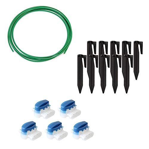 ECENCE Set de accesorios y reparación para robot cortacésped, 3m el cable delimitador + 5x conector + 10x gancho, universal para todos los modelos