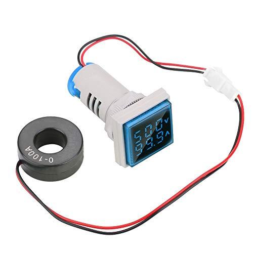 Hyuduo LED Digitale Voltometro Amperometro Multifunzionalerilevatore di Corrente del Tester di Tensione Pannello Doppio Quadrato da 22 Mm indicatore del Misuratore AC 0-100A 60-500V(Blu)